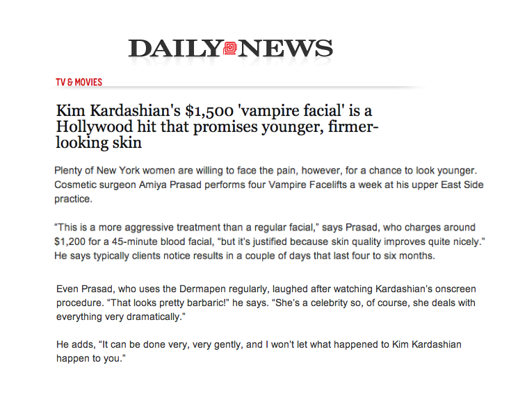 Vampire Facial in the Daily News