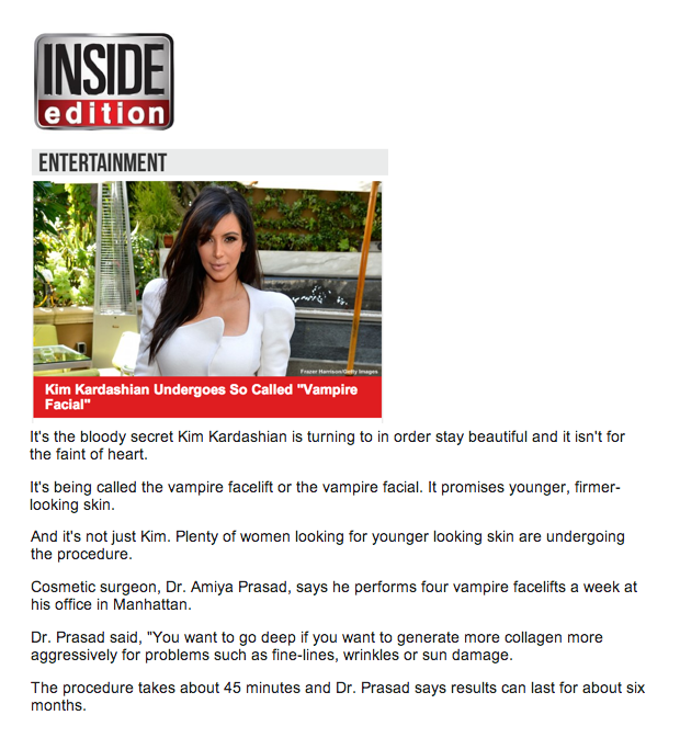 Vampire Facial featuring Dr. Amiya Prasad on Inside Edition