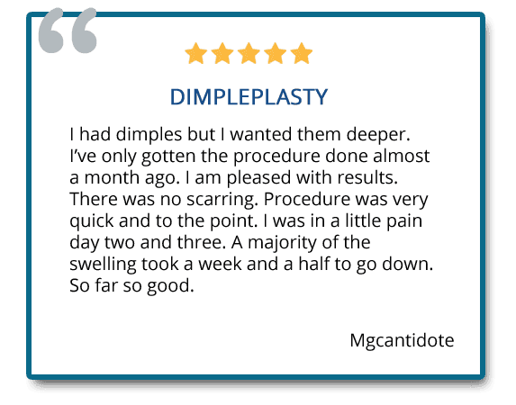 patient review on dimple creation surgery