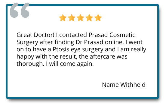Patient reviews on ptosis surgery and aftercare.