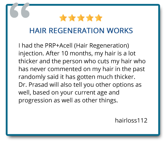 patient review on PRP+ACell hair regeneration